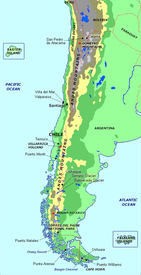 physical map of chile chile map