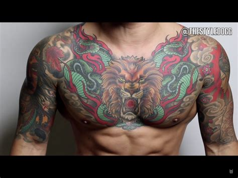 colored tattoos for guys colored eagle for chest