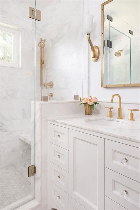 white and gold bathroom white and gold bathroom features a white washstand adorned