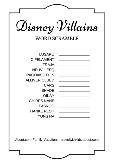 Character Letter Unscrambler 14 free disney printable word searches mazes