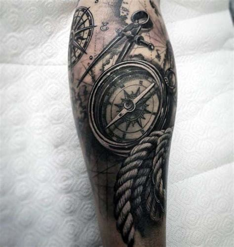 quarter sleeve compass tattoo mens 3d compass with rope realistic nautical themed leg