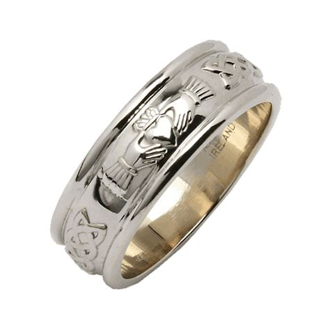 mens wide rounded claddagh wedding ring silver