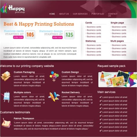 happy print shop template free website templates in css