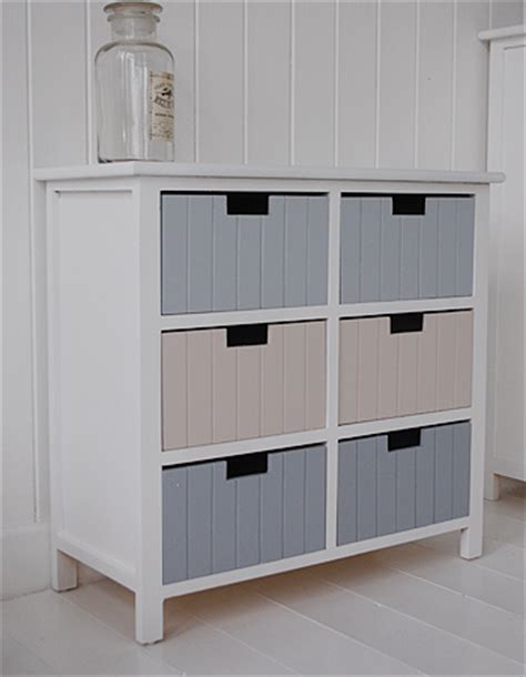Beach Free Standing Bathroom Cabinet Furniture With 6