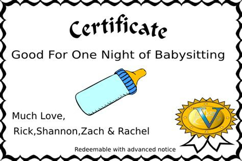 templates for certificates for babysitting coupon for babysitting template
