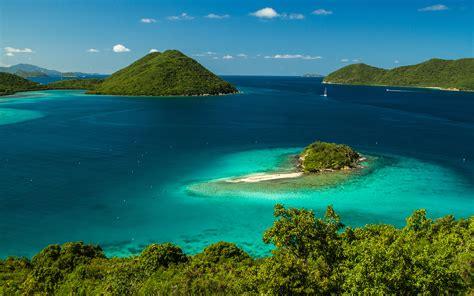 landscape sea coast bay green vegetation  blue water