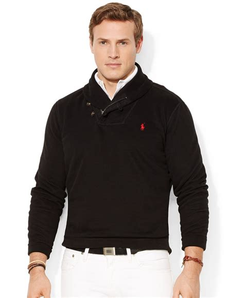 Pashmina Polos polo ralph big and pima fleece shawl pullover in black for lyst