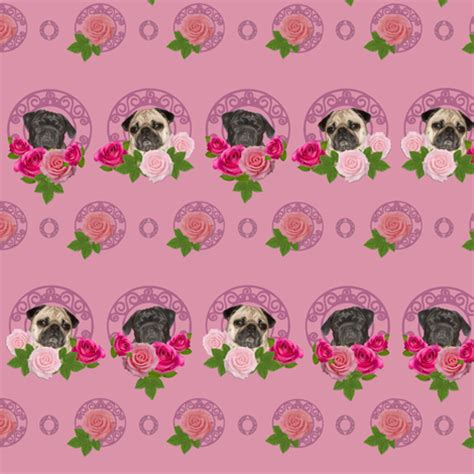 pugs and roses pugs and roses pink fabric lil creatures spoonflower