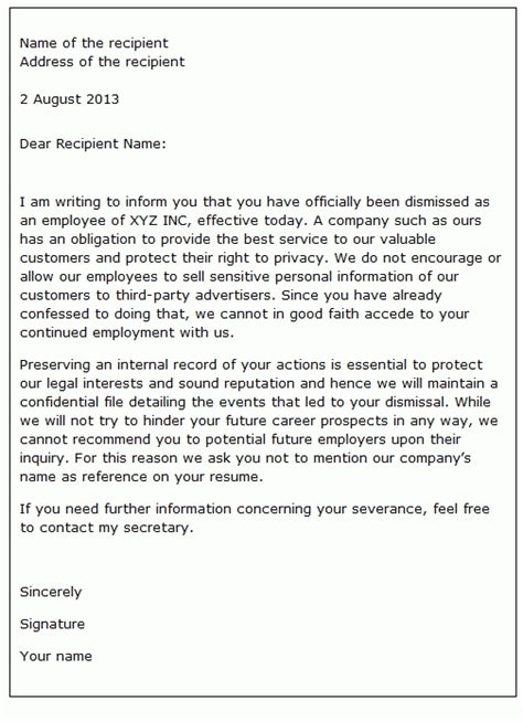 letter of appeal against dismissal template dismissal letter sle letters free sle letters