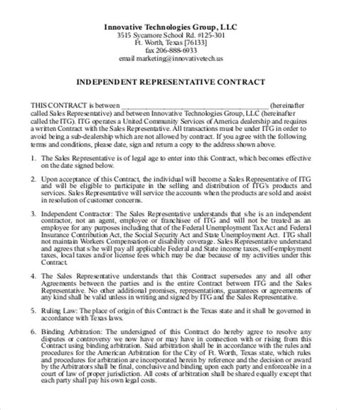 Sle Independent Agreement Contract 8 Exles In Word Pdf Independent Sales Representative Contract Template