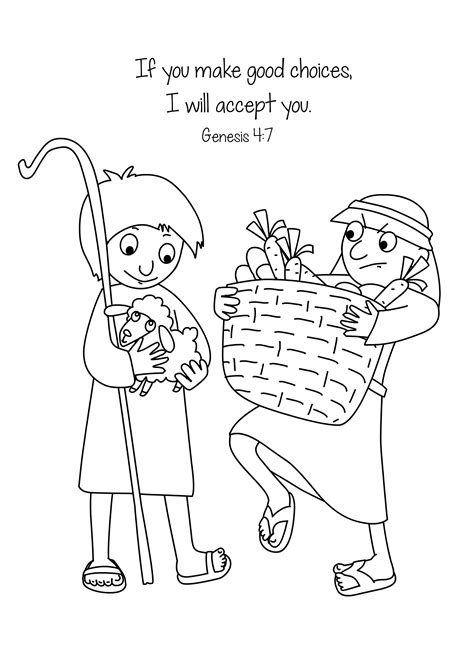 cain and abel coloring pages free bible coloring page cain and abel