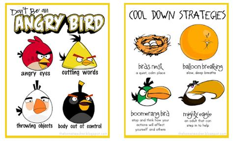 angry birds anger management worksheets i love these angry bird behavior modification