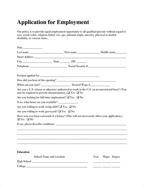 free employment application form template sle