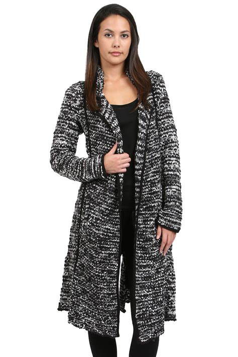 20110 Black White Cardigan free sweater duster in black black white lyst