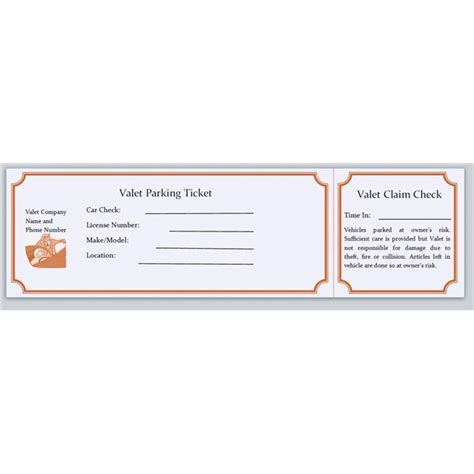 and ticket templates blank ticket template for valet parking with