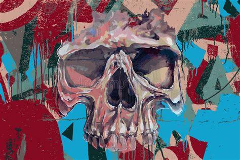 graffiti skull  fire stock vector illustration