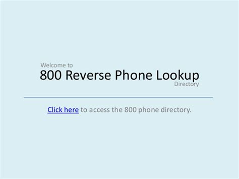 Reversed Phone Lookup 800 Phone Lookup