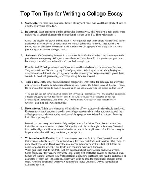 What Do You Put In A College Essay by Top 20ten 20tips 20for 20writing 20a 20 By Brian