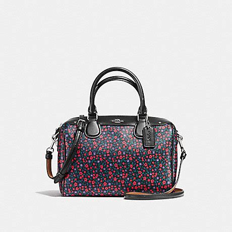 coach f59445 mini satchel in ranch floral print coated canvas silver bright