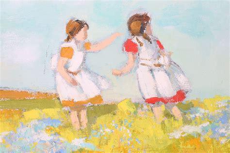 pinafored boys gracielo corzo oil painting of flying kits ebth