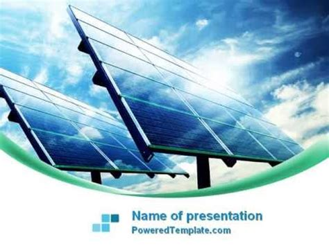 solar panels in blue colors powerpoint template by