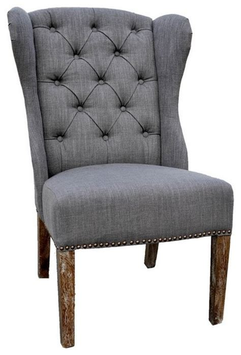 tufted wingback vintage style chair farmhouse dining chairs