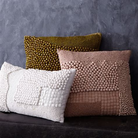mixed beaded pillow cover white west elm