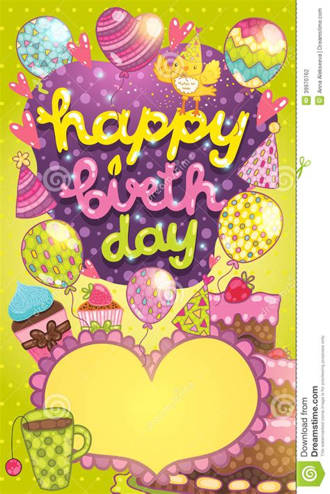 birthday cake card template happy birthday card with cake balloon and cupcake stock