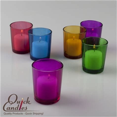 Coloured Candle Holders Votive Holder Colored Glass Set Of 12 Candles