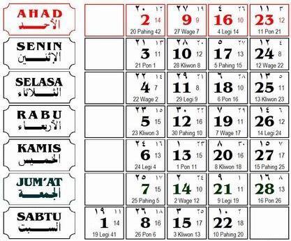Kalender 2018 Dengan Weton Jawa Konversi Tanggal Hari Pasaran