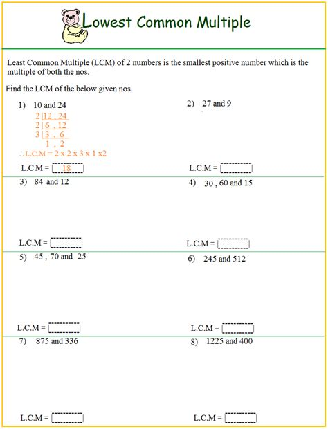 Lcm Worksheets by Worksheet On Lcm