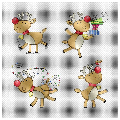 cute christmas pattern cute christmas reindeer cross stitch pattern instant
