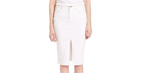 mcguire light distressed denim pencil skirt in white