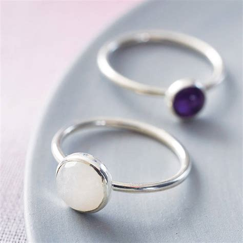 Handmade Silver Rings With Gemstones - handmade sterling silver and gemstone stacking ring by