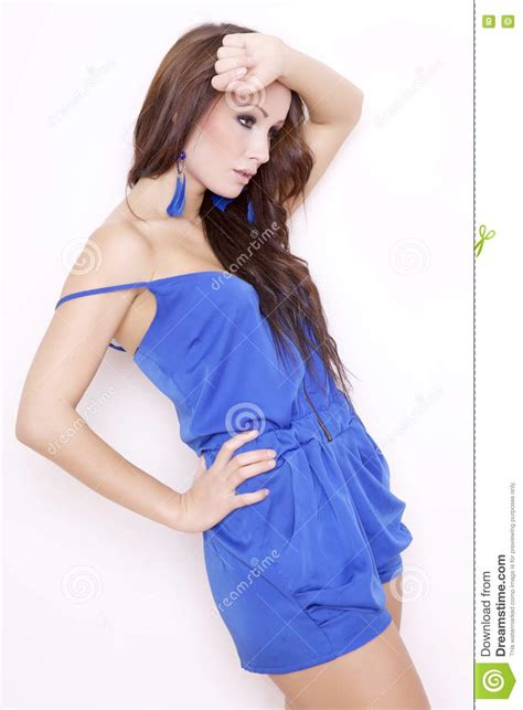 who is the brunette in the blue dress in the viagra add sexy brunette posing in blue dress stock photos image