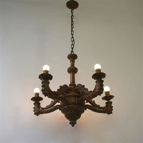 Pretty Chandelier Pretty Gruesome Finest Carved Wood Nouveau Five Light Chandelier For Sale At 1stdibs