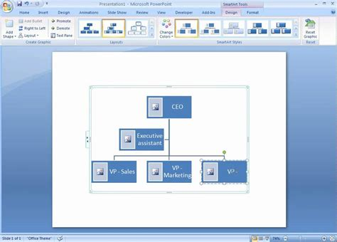 Office 2007 Demo Create An Organization Chart With Pictures Youtube How To Create Ppt Template 2007