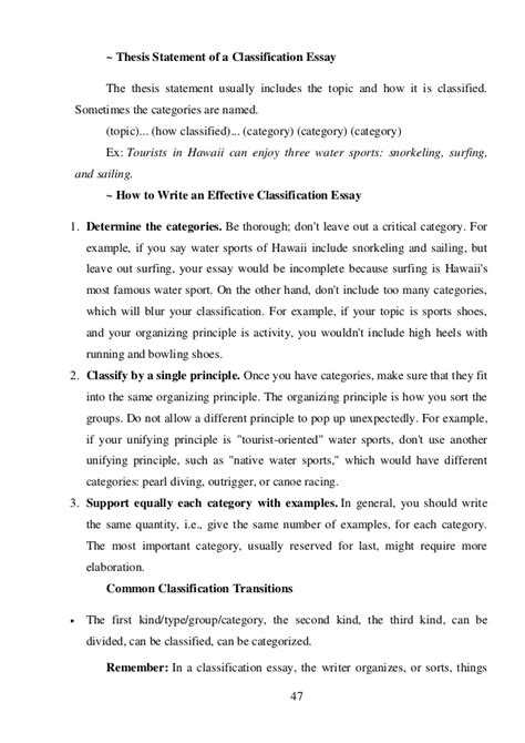 Exle Of Classification Essay About Drivers by Classification Essay Outline