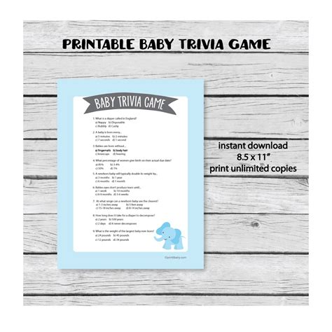 Baby Shower Trivia by Printable Baby Shower Trivia Blue Elephant Theme