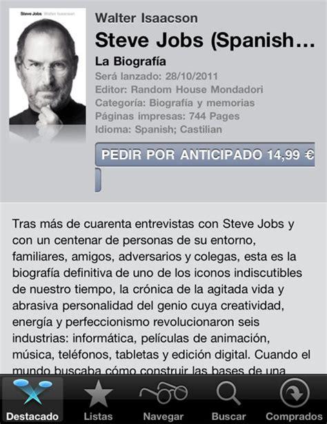 steve jobs la biografa 8499921183 la biograf 237 a oficial de steve jobs llega a ibooks en iphoneros