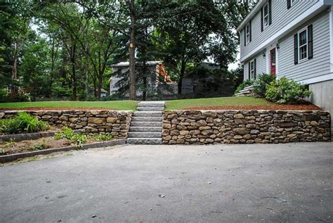stacked stone wall custom built natural stone walls