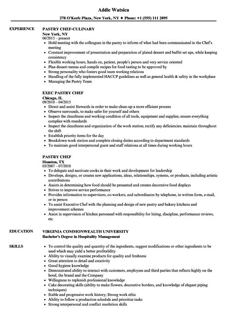 pastry chef resume exles pastry chef resume sles