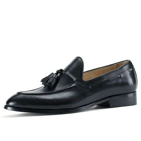 mens loafers tassels black leather tassel loafers cw707085