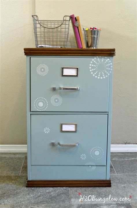 Upcycled Metal Filing Cabinet Wood Trimmed Filing Cabinet Makeover H20bungalow
