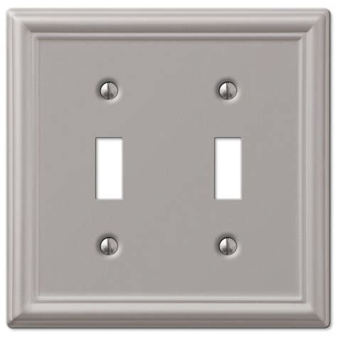 brushed nickel light switch covers hton bay ascher 2 toggle wall plate brushed nickel