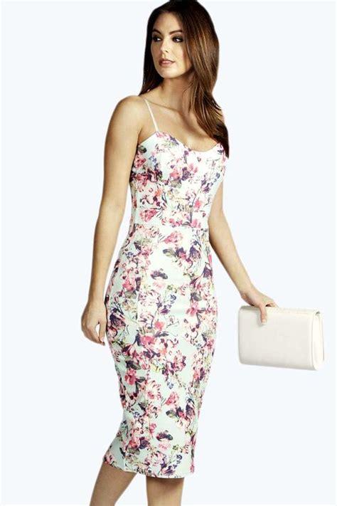 Flowery Bodycon Midi Dress white floral bodycon dress boohoo floral print