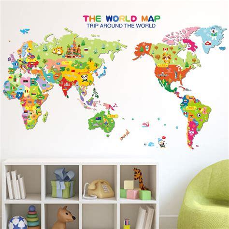 aliexpress com buy cartoon animal world map colorful
