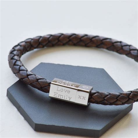 s leather engraved bracelet by the