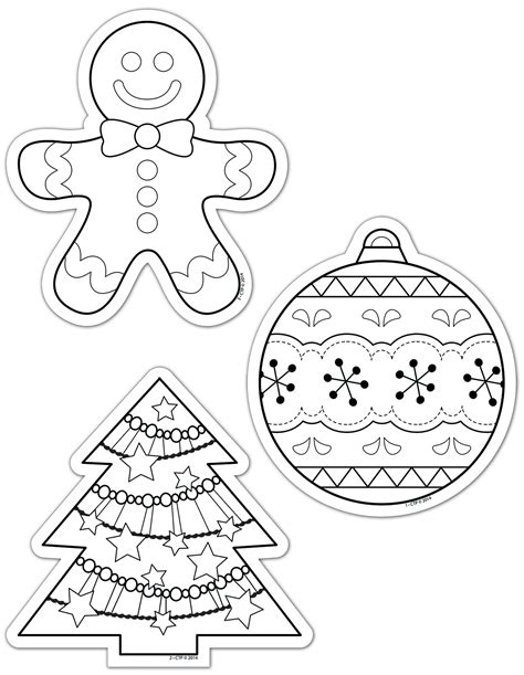 Image Gallery Holiday Cutouts Ornaments To Color For Primary