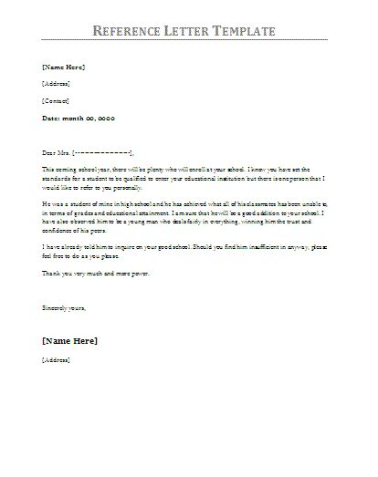 10 Reference Letter Sles Free Word Templates Microsoft Word Reference Letter Template